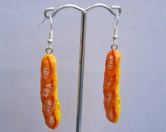 Bread stick earrings cute