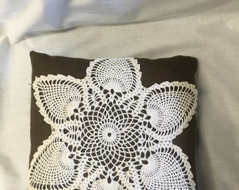 Brown burlap pillow with vintage hand crocheted lace