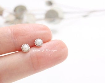 Tiny Freshwater Pearl Flower Stud Earrings