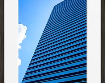 Singapore print building architecture skyscraper photo, city urban photography, fine art wall art, home decor HDR blue sky glass windows
