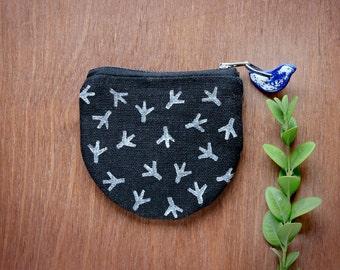 Mini zipper pouch, Black linen Coin purse, Small Gadget bag, Girls coin purse, Pocket pouch