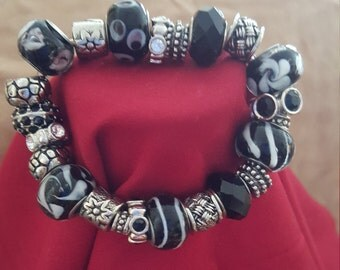 Black, white and silver bracelet