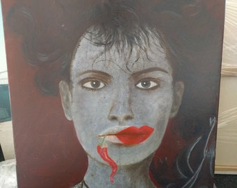 woman lipstick akward hand-made oil painting