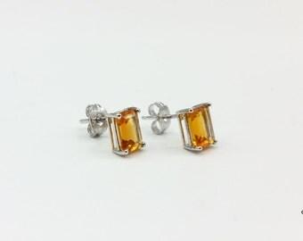 Citrine Octagon | Citrine Earrings | Citrine Stud Earrings | Orange Stud Earrings | Orange Stone Earrings | Sterling Silver Earrings