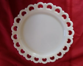 2 Platters  Cake Plates  Milk Glass Serving Platters    2   Open Heart Lace      Anchor Hocking Milk Glass    Serving Dish    Display