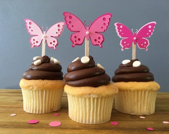 12 Pink Butterfly Cupcake Toppers, Butterfly Cake Topper, Butterfly Baby Shower, Butterfly decoration, butterfly bridal shower