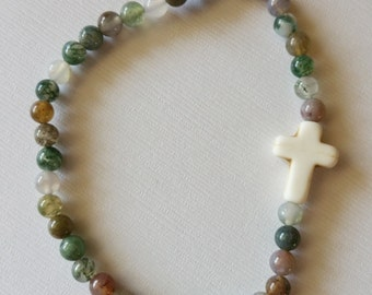 "8"" Glass Cross Stretchy Bracelet or Anklet!"