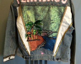 One of a Kind Unique Handpainted Sunset Denim Jacket Size Large with Flamingo Lettering in Sequins