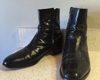 Vintage Black Leather Beatle Boots Mens Size 9D Motorcycle Rock N Roll 60's Psych Punk Boots