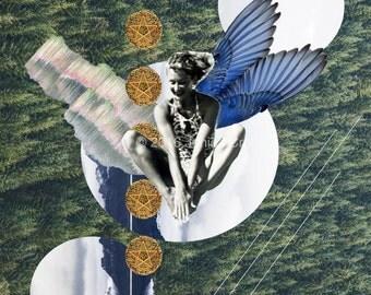 Fine Art Collage Print - Falling