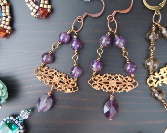Prints and dangling Amethyst earrings in brass (filigrees) - Bohemian chic - made in France