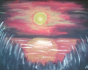 Original acrylic painting, African sunset from behind long grass.