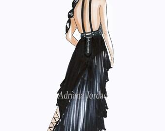 Girly Wall Art / Fashion Illustration Print/  Dressing Room Art / Gift For Her / Fashion Marker Art / Office Art / Top Model Art