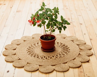 Medium natural handmade jute rug