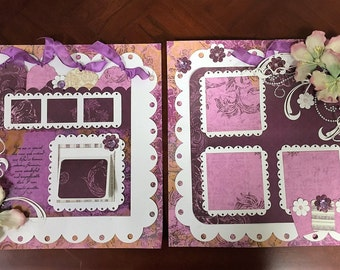 Double page 12 x 12 pre-made scrapbook layout, purple Quick Quotes paper