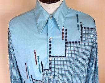 Mens Vintage 1970s Long Sleeve Shirt Geometric Graphic Print