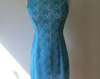 1960s vintage mod blue lace sheath dress XS/S