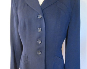 1950s Navy wool gabardine blazer with scalloped pockets M L