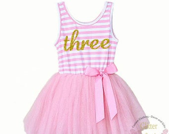 Third birthday three year old baby girls tutu dress party outfit 3rd bday, birthday dress,Pink and Gold