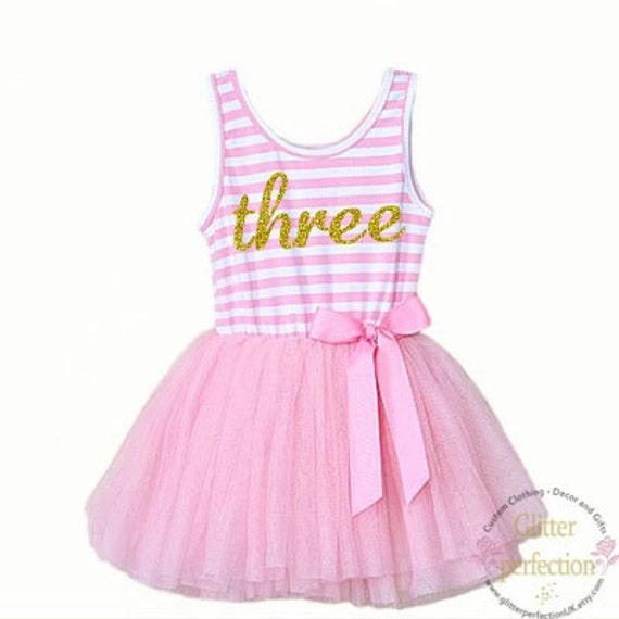 Third Birthday Three Year Old Baby Girls Tutu Dress Party