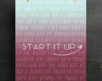 Motivation Start It Up Poster Minimalism Art Inspirational Motivational Art Inspiration Wall Decor Office Decor Canvas Inspirational Print