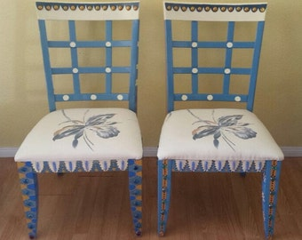 Set of Two Wooden Chairs Handpainted