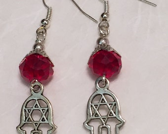 Red Crystal Hamsa Earrings / Crystal Earrings / Women's Gift Ideas / Judaica / Dangle Earrings / Jewelry / Hamsa / Earring / Star of David