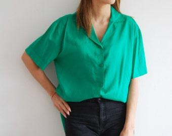 Vintage 80s Oversized Green Blouse - UK 10-14