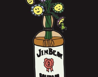 Drunk Flowers, Coloured Print
