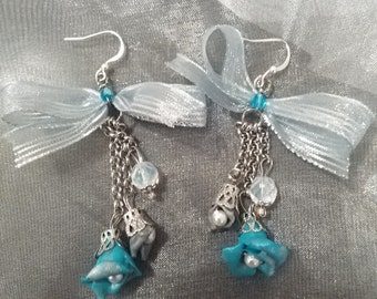Turquoise and silver flowers Earrings polymer clay, czech glass beaded