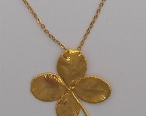 24 kt Gold Plated Real 4 Leaf Clover Necklace & Earrings