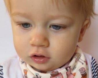 Bib Baby Girls Dribble Bib Little Ladies White Fabric with Pink Minky