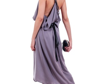 Gray dress with spectacular open back