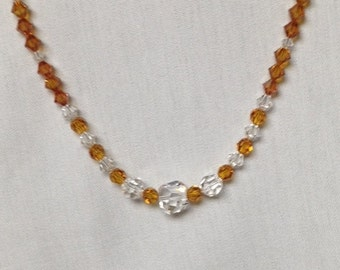 Handmade Swarovski Crystal Necklace in Topaz and Clear Cyystals