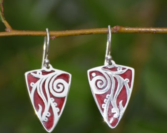 925 Sterling Silver Foliage Triangular Dangle Earrings with Red Coral
