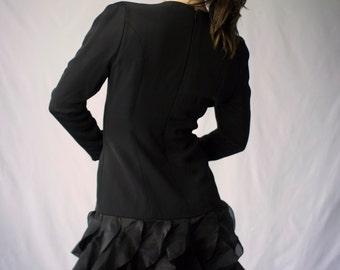 Vintage Black Caroline Herrara Ruffled Dropwaist Dress