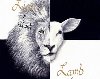 Lion and The Lamb - Drawing - Print of Original