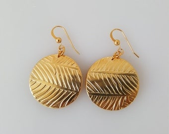Gold Earrings Dangle, Stamped Jewelry, 14k Gold Earrings, Minimalist Earrings, Jewelry Gift, Unique Earrings, Stamped Earrings, Handcrafted