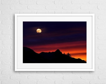 Alpine Sunset Art Photo With Frame