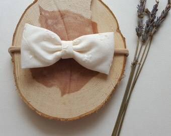 Soft White Flowered Bow Headband or Clip
