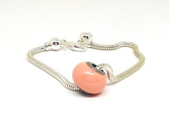 Pink Coral Pearl Bead, Swarovski Bead, 14x9.5 mm Rondelle Bead, European Style Charms , Pink Bead, Large Hole Bead, Becharmed, Diy, PG6962