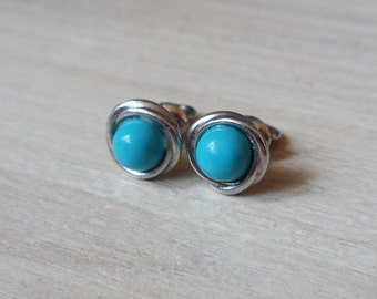Silver Stud Earrings Turquoise Studs Bouton Handmade Stud Earrings Wire Wrapped