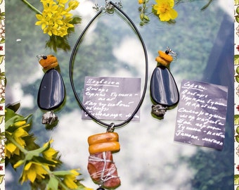 Pendant and Earrings The Baltic Coast made with love and amber