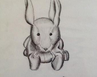 Black and white drawing of Velveteen Rabbit