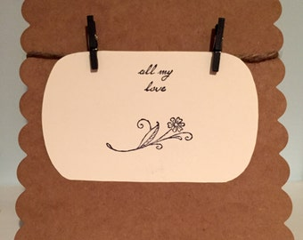 """Stamped Clothespin """"All My Love"""" Flower Card"""