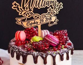 Wedding Cake Topper with Mr Mrs Custom engraved Surname. Rustic Wedding Cake Topper. Wood cake topper. Engraved wooden cake topper.