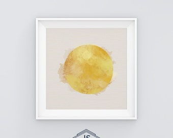 Sun. Printable digital illustration. Watercolrs. Yellow. Summer. Minimal