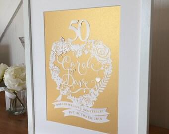 Wedding Anniversary Personalised Papercut