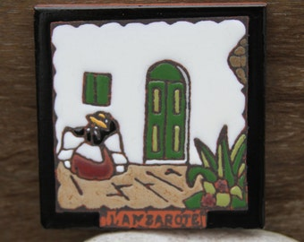 Restful Mother Lanzarote Handmade Decorative Art Tile Canary Islands Spain Mountain View with Windmill and Goat Shipping Included