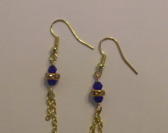 Blue and Gold Swarovski Crystal Earrings